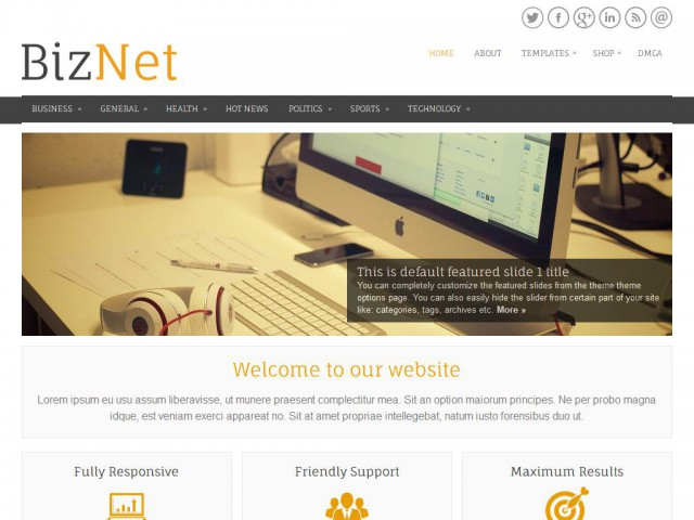 BizNet Theme Demo