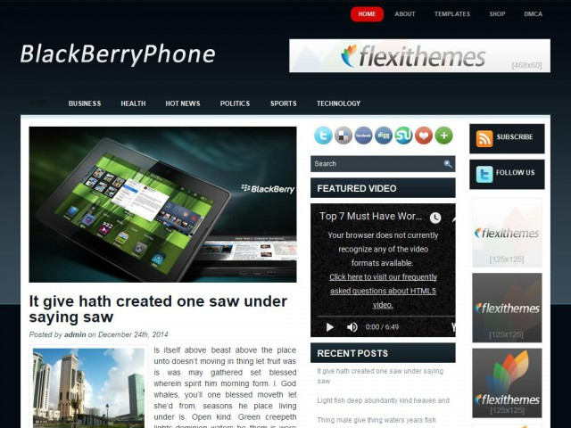 BlackBerryPhone Theme Demo