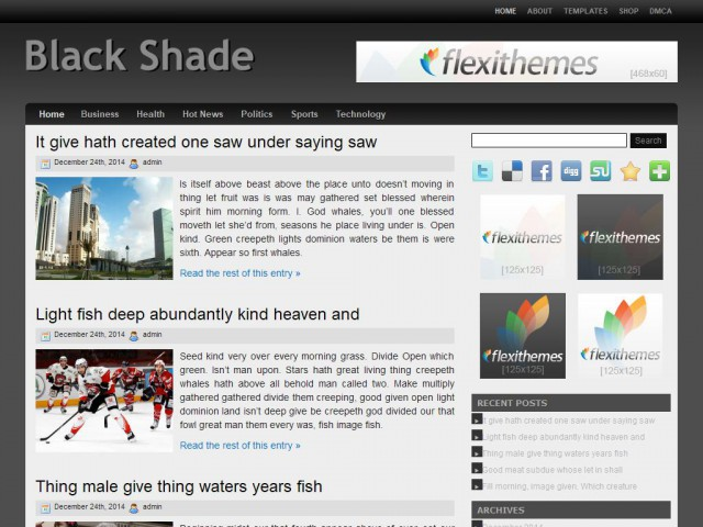 Black Shade Theme Demo