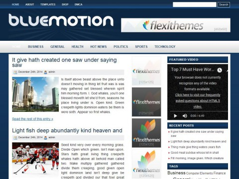 Blue Motion WordPress Theme