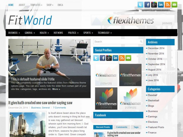 FitWorld Theme Demo