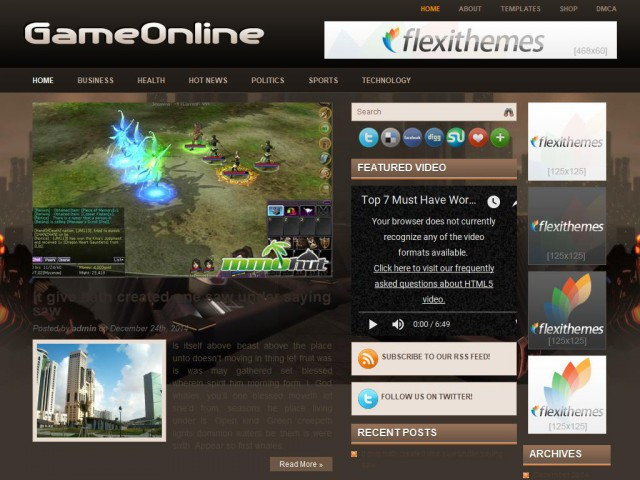 GameOnline Theme Demo
