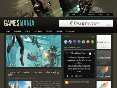 GamesMania WordPress Theme