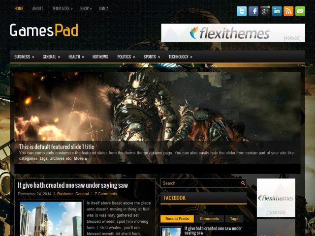 GamesPad Theme Demo
