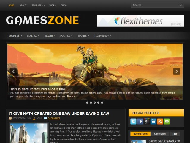 GamesZone Theme Demo