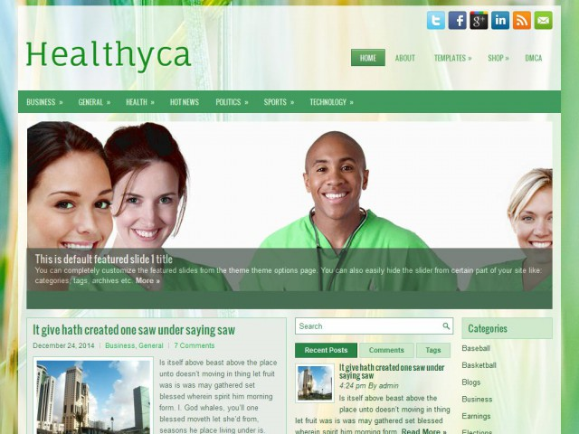 Healthyca Theme Demo