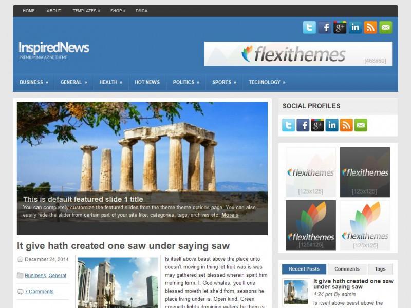 InspiredNews - A Free News/Magazine WordPress Theme by FlexiThemes