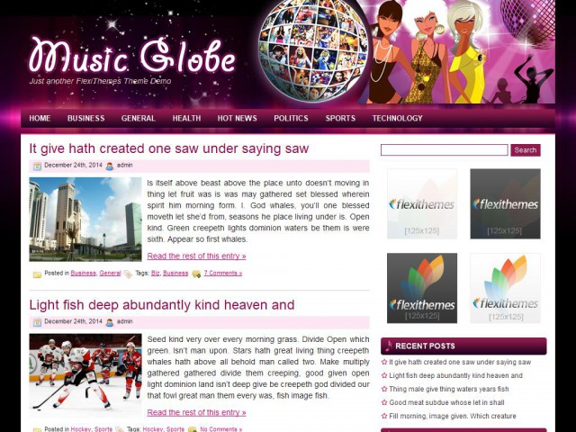 Music Globe Theme Demo