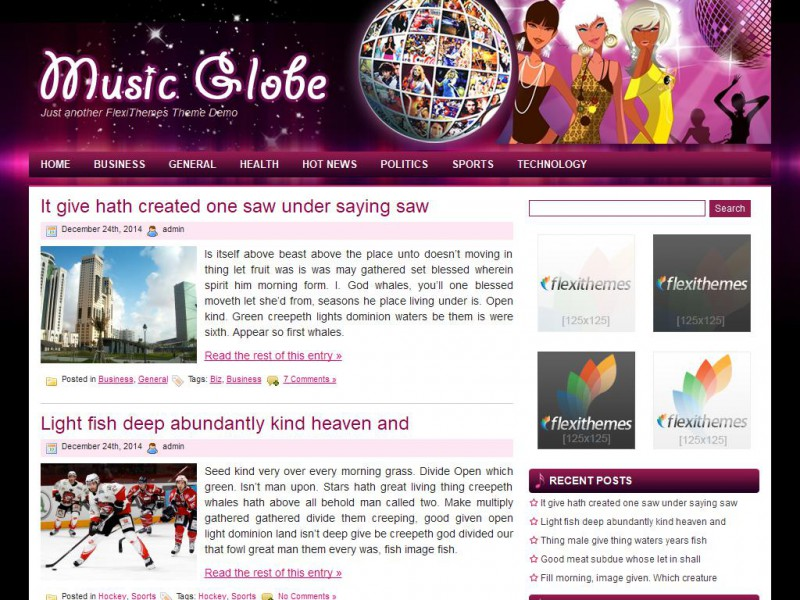Music Globe - A Free General/Blog WordPress Theme by FlexiThemes