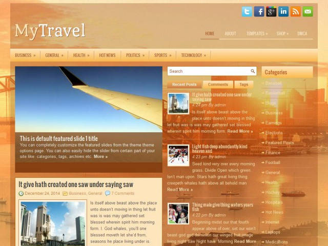 MyTravel Theme Demo