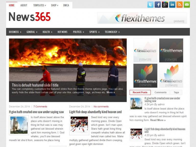 News365 - A Free News/Magazine WordPress Theme by FlexiThemes
