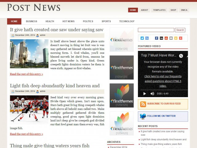 Post News Theme Demo