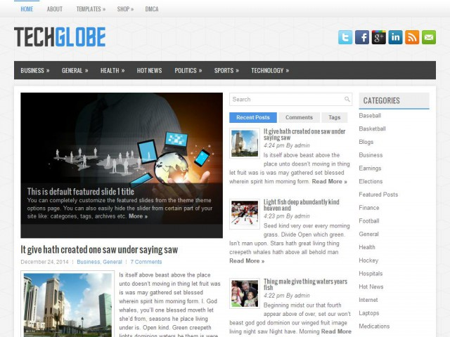 TechGlobe Theme Demo