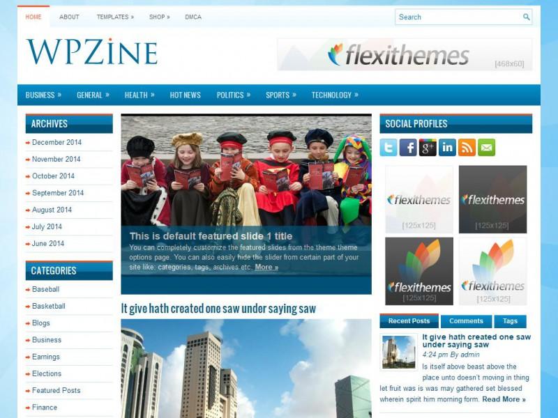 WPZine - A Free News/Magazine WordPress Theme by FlexiThemes