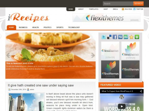 iRecipes WordPress Theme