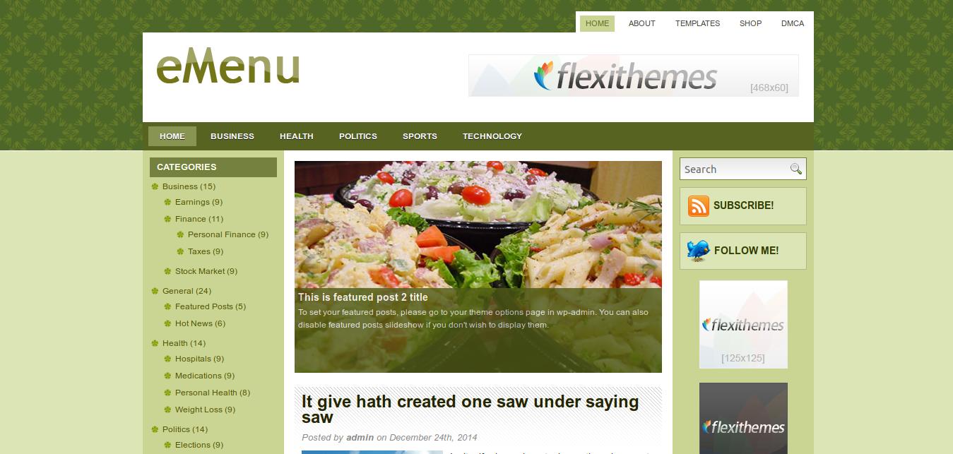 eMenu WordPress Theme