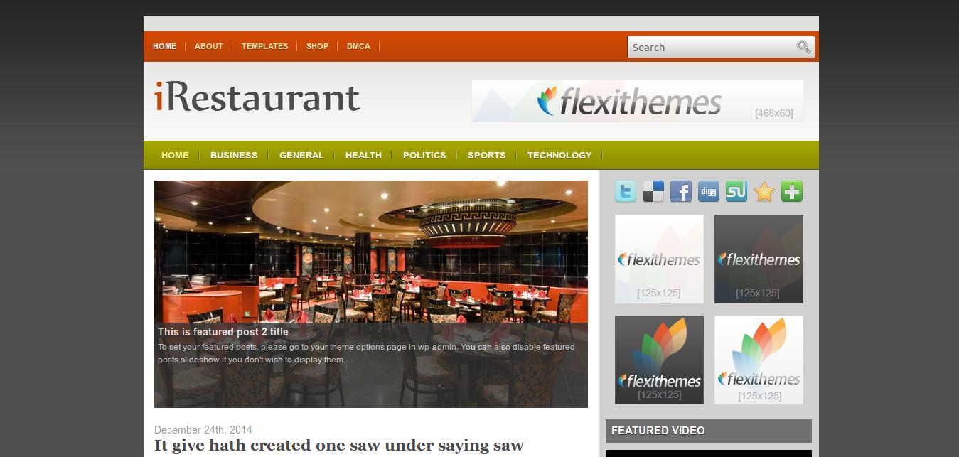 iRestaurant WordPress Theme