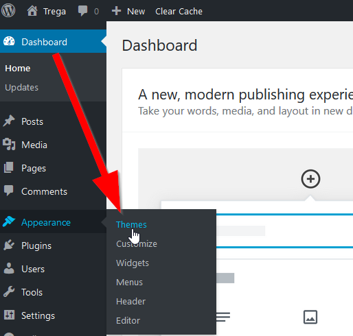 Navigating to the WordPress Themes area in wp-admin