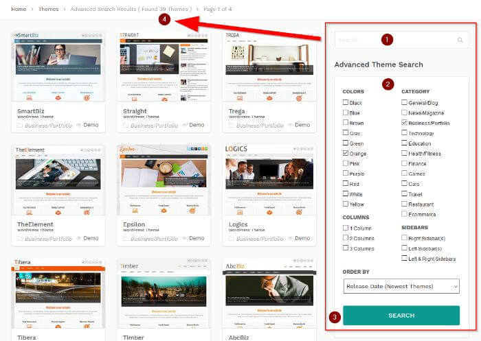 Advanced search for WP Themes