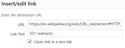 WordPress: Open link in new window