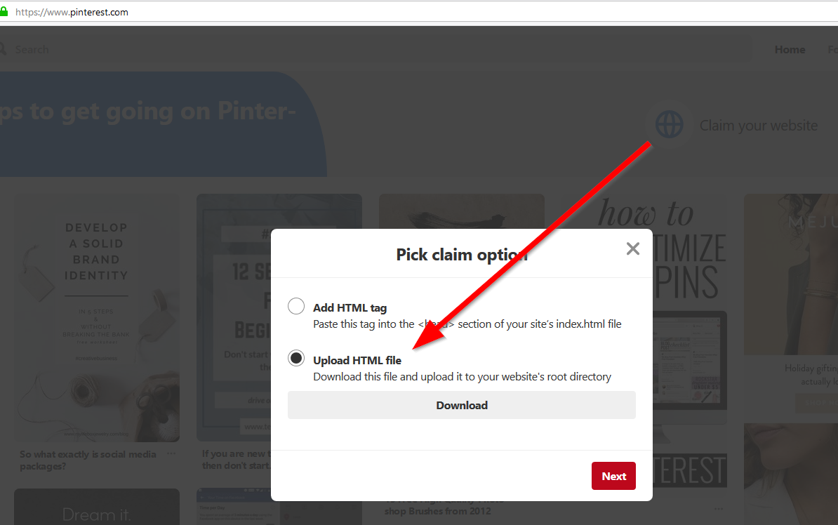 Pinterest Claim Website and Download HTML File