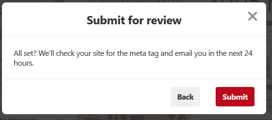 Submit Website for review in Pinterest